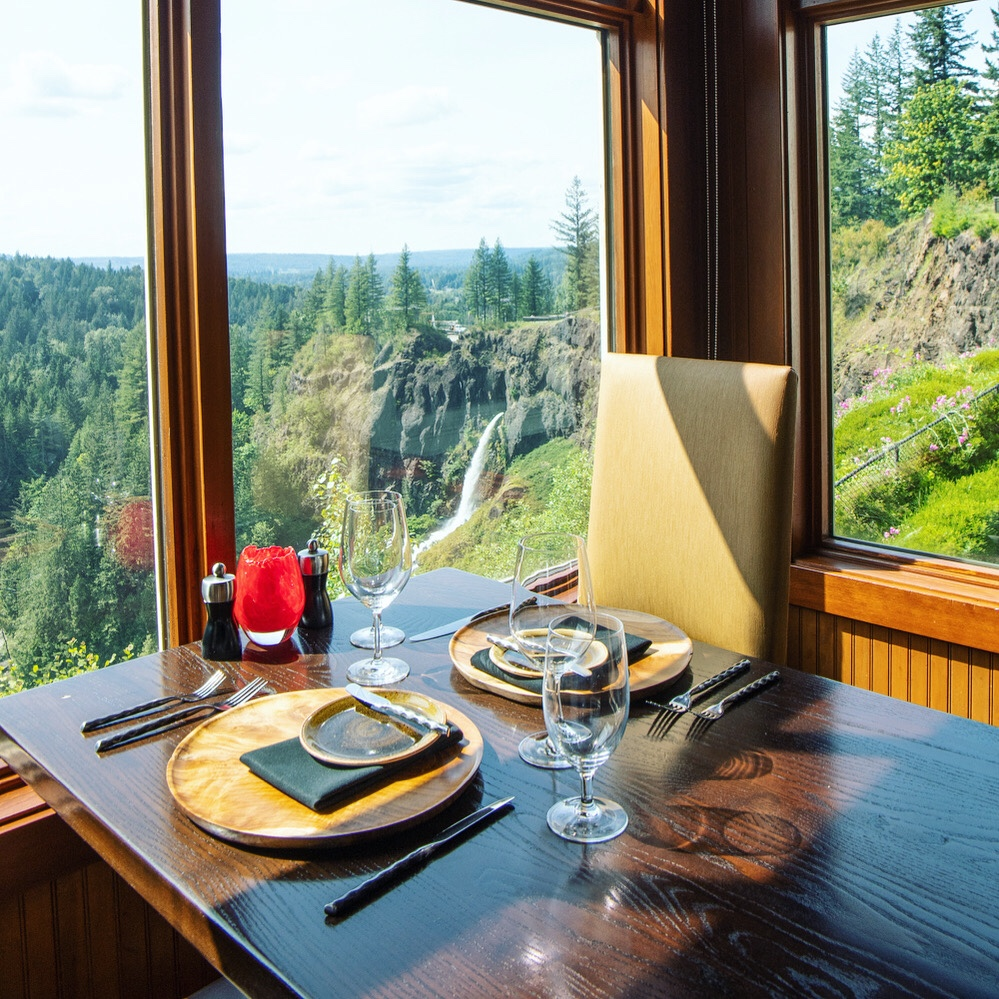 View from Salish Lodge Dining Room, Snoqualmie Falls, Snoqualmie, WA