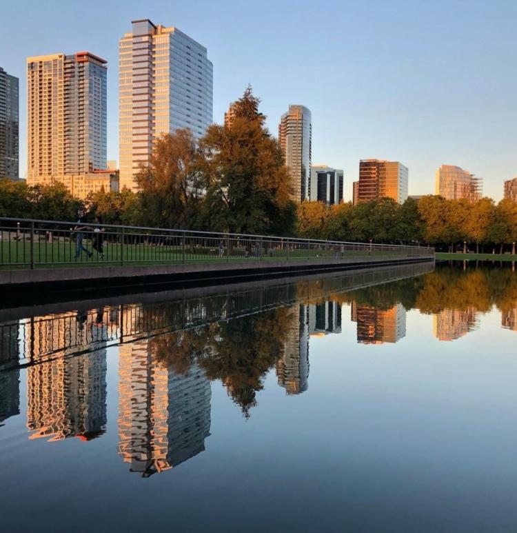 Downtown Bellevue Park and Bellevue skyline, Bellevue, WA