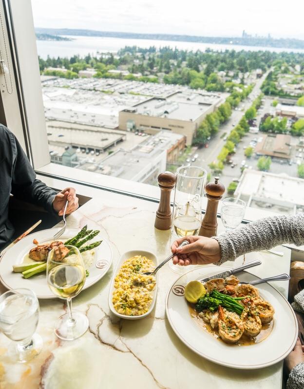 View from indoor dining room at Daniel's Broiler, Bellevue, WA